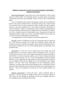 Dinâmica constitucional - recepção, desconstitucionalização e repristinação Mutação Constitucional