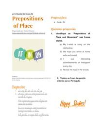 PREPOSITIONS OF PLACE - ATIVIDADE DE INGLÊS - IN AT ON - PREPOSIÇÕES