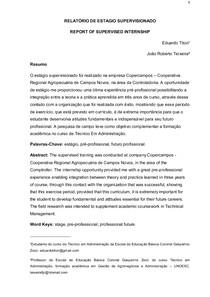 Artigo - RELATÓRIO DE ESTAGIO SUPERVISIONADO