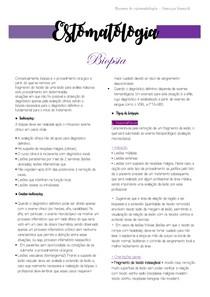Estomatologia - Biopsia e exames histopatologicos