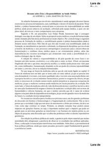 Resumo sobre Ética e Responsabilidade na Saúde Pública