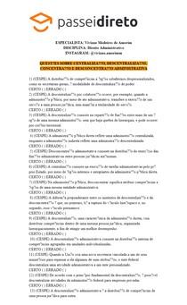 Questões resolvidas - Centralização, descentralização, concentração e desconcetração administrativa