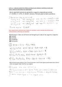1.2 Análise elementar (fórmulas mínima, molecular e empírica), regra dos trezes e IDH