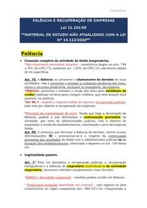 Resumo Falência e Recuperação de Empresas (NÃO ATUALIZADO COM A LEI Nº 14.112/2020)