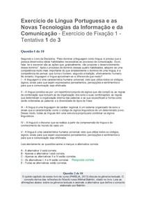 Exercício de fixação 1 Língua portuguesa e as Novas Tecnologias da Informação