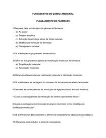 Estudo Dirigido- Química Medicinal
