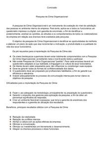 Pesquisa de Clima Organizacional_Métricas_Conclusão_