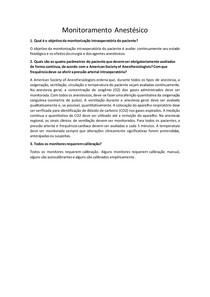 Monitoramento Anestésico - Questionário