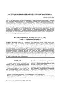 A INTERFACE PSICOLOGIA SOCIAL E SAÚDE - PERSPECTIVAS E DESAFIOS