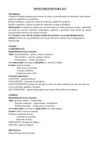 Resumão FISIOLOGIA BIOENERGÉTICA