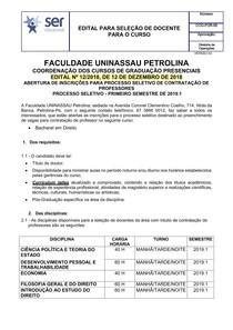 EDITAL 12   PARA SELEÇÃO DE DOCENTE  DIREITO 2019.1