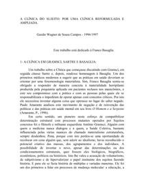 A CLÍNICA DO SUJEITO   POR UMA CLÍNICA REFORMULADA E AM0PLIADA; GASTÃO WAGNER DE SOUZA CAMPOS
