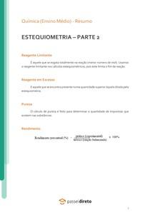Estequiometria: reagente limitante e em excesso, pureza e rendimento - Resumo