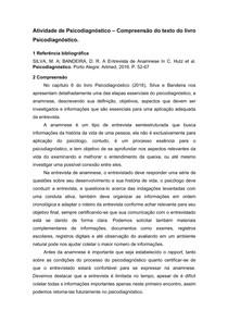 FICHAMENTO - CAP. 6 ENTREVISTA DE ANAMNESE, SILVA E BANDEIRA - PSICODIAGNÓSTICO - 7° SEMESTRE
