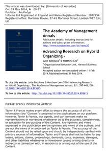 2014 BATTILANA LEE Hybrid organizations that combine multiple organizational forms deviate from