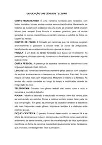 EXPLICAÇÃO DOS GÊNEROS TEXTUAIS AULA 06