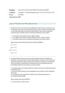 Avaliação Instrumentos e Processo de Trabalho do Serviço Social (SES40)