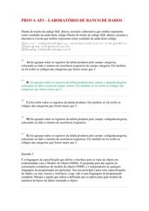 PROVA AP3 - LABORATÓRIO DE BANCO DE DADOS