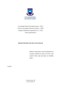 Relatório Física Experimental II - Resistividade Linear e não linear