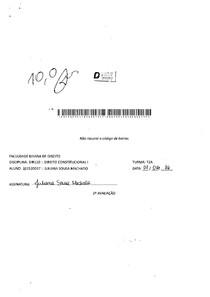 Direito Constitucional I   PROVA 2   Dirley Cunha
