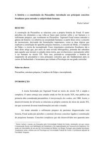 A história e a constituição da Psicanálise introdução aos principais conceitos