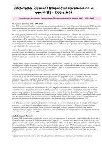 ECONOMIA BRASILEIRA COMTEMPORÂNEA - Resumo Capitulo 7 - Parte 2 - Estabilização, Reformas e Desequilíbrios Macroeconômicos - Os anos de FHC - 1999 a 2002