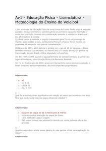 Av1 - Educação Física - Licenciatura - Metodologia do Ensino do Voleibol