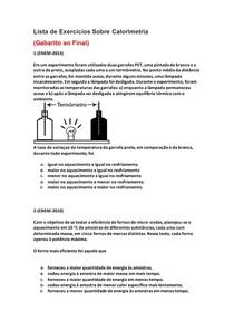 Lista de Exercícios de Física do Enem Sobre Calorimetria - Parte 7