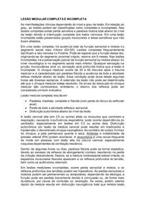 LESÃO MEDULAR COMPLETA E INCOMPLETA E CONSEQUÊNCIAS