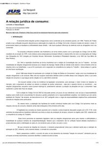 TEXTO I - A relação jurídica de consumo_ conceito e interpretação - Revista Jus Navigandi - Doutrina e Peças