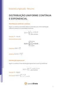 Distribuição Uniforme e Exponencial - Resumo