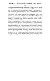 Atividade - Texto como ficção e texto como experiência