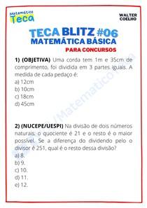 Teca blitz #06 - Questões de Matemática Básica para Concursos