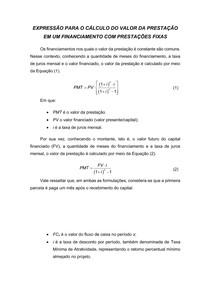 Expressão para o cálculo do valor da prestação em um financiamento com prestações fixas
