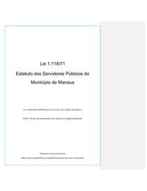 Lei 1118 Estatuto dos Servidores de Manaus (com comentários e sem revogados) Parte 1