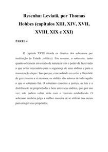 Resenha - Leviatã - Thomas Hobbes - Cap XVIII