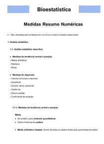 Bioestatística 03- Medidas Resumo Numéricas