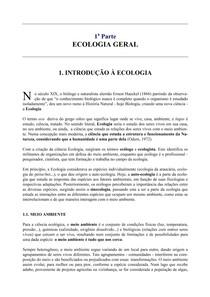 Ecologia Geral - 1 Parte (Introdução a Ciência do Ambiente para Engenheiros)