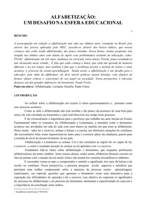 PAPER ALFABETIZAÇÃO UM DESAFIO NA ESFERA EDUCACIONAL