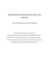 RESUMO COMPLETO DE PROCESSO PENAL - OAB/ GRADUAÇÃO