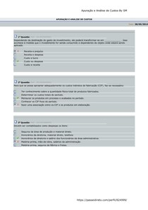 Apuração e Análise de Custos - Aulas 01 a 10 - Avaliando o Aprendizado
