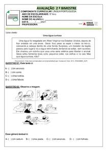AVALIAÇÃO 2º BIMESTRAL LÍNGUA PORTUGUESA - 5º ANO
