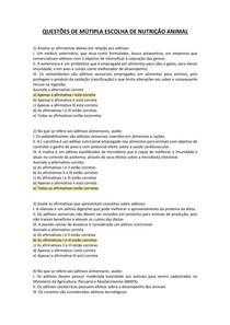 EXERCÍCIOS RESPONDIDOS - APS - Nutrição Animal UAM