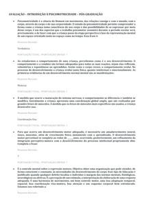 AVALIAÇÃO INTRODUÇÃO À PSICOMOTRICIDADE