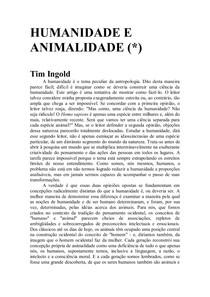 Humanidade e Animalidade - Ingold