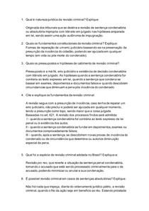 QUESTIONÁRIO SOBRE REVISÃO CRIMINAL