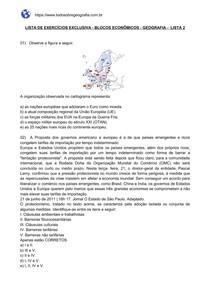 Lista de exercícios sobre Blocos Econômicos - Lista 2