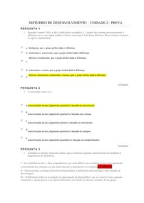 DISTURBIOS DO DESENVOLVIMENTO - UNIDADE 2 - PROVA