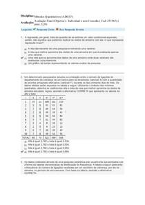 Avaliação Final - Métodos Quantitativos