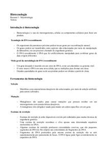 Microbiologia - Resumo I - Engenharia genética